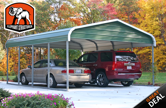 Carport elephant structures 2 car regular style carport for Carport size for 2 cars