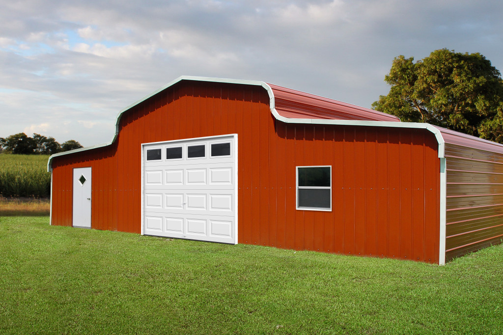 Custom steel metal garage with two lean-to's.
