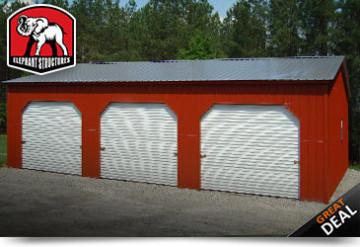 Three Car Metal Garage