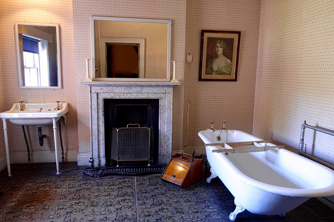 french bathroom with fireplace